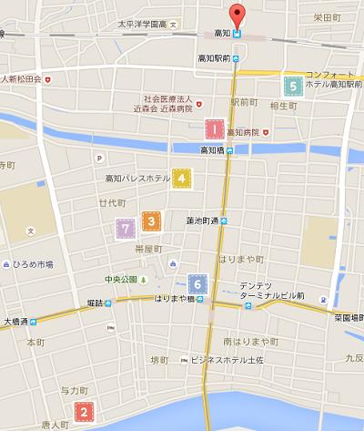 高知駅周辺ホテル地図