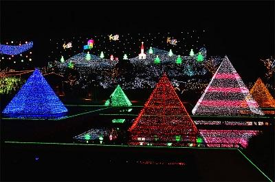 足利フラワーパークのイルミネーション光のピラミッド
