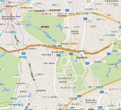 新宿御苑~明治神宮外苑地図