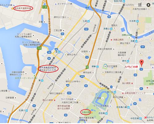 いちごの堺周辺地図